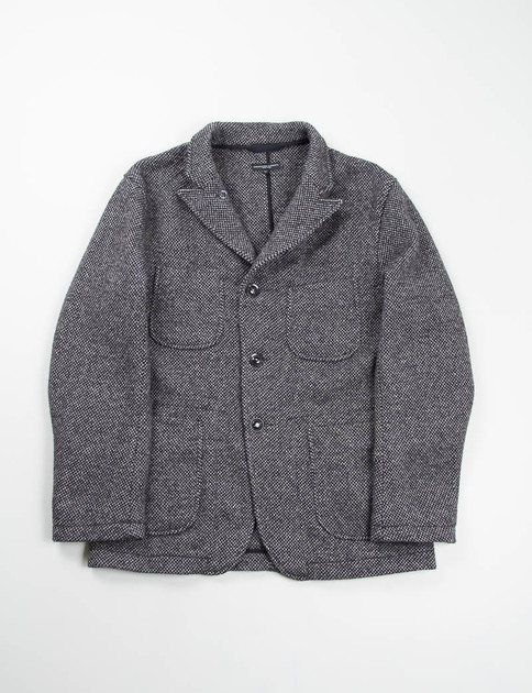 Grey Wool Tweed Bedford Jacket