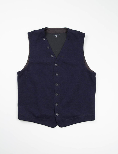 Dark Navy Wool Jersey Knit Vest