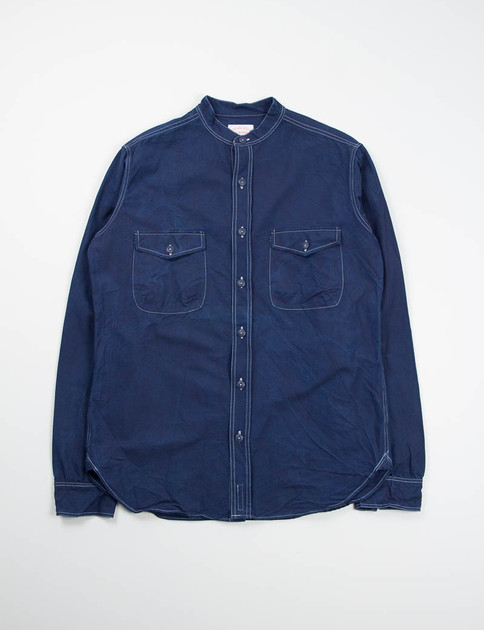 Navy Banded Collar Mill Shirt