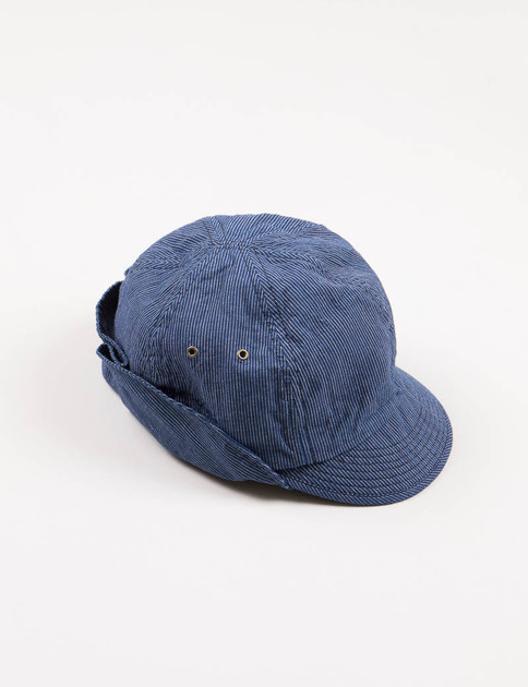 Indigo Pin Stripe Work Cap