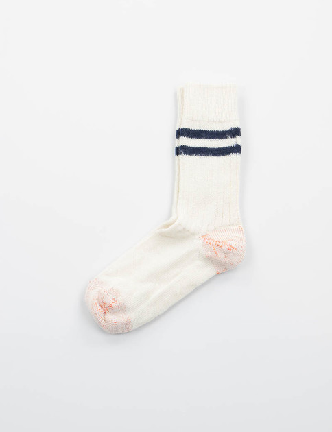 Nature/Navy S75 Organic Wool Striped Socks