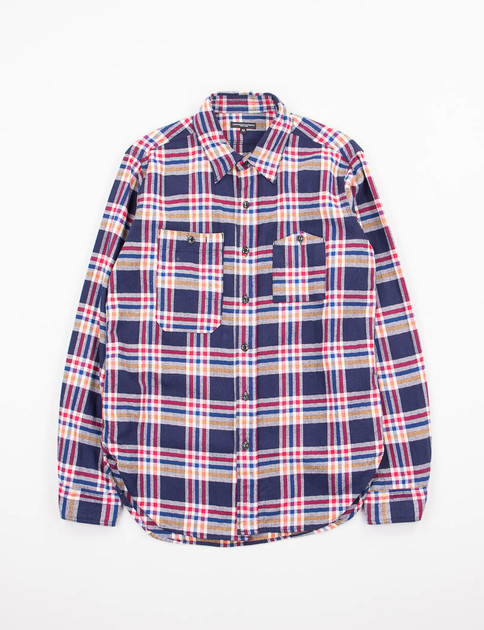 Navy/Red/Yellow Plaid Flannel Work Shirt