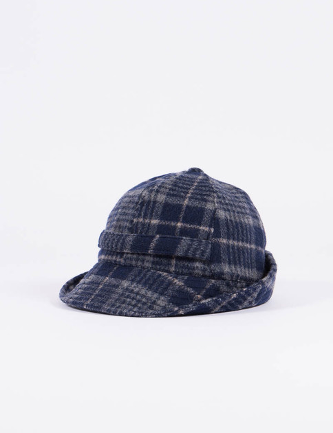 Navy Shaggy Check Hat