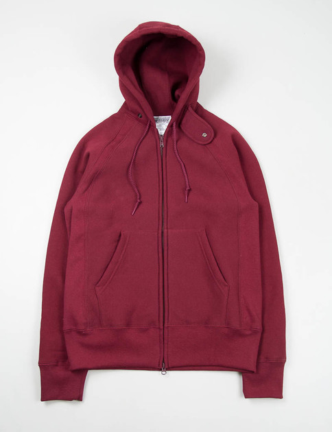 Burgundy Thermal Raglan Zip Hoody