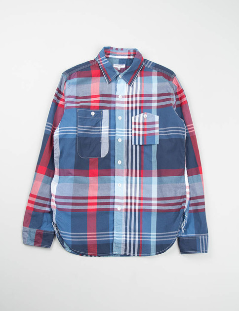 Blue/Red/White Big Plaid Work Shirt