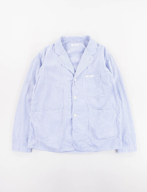 Blue Seersucker Stripe Workers Jacket