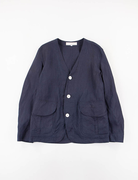Navy Linen No Collar Jacket