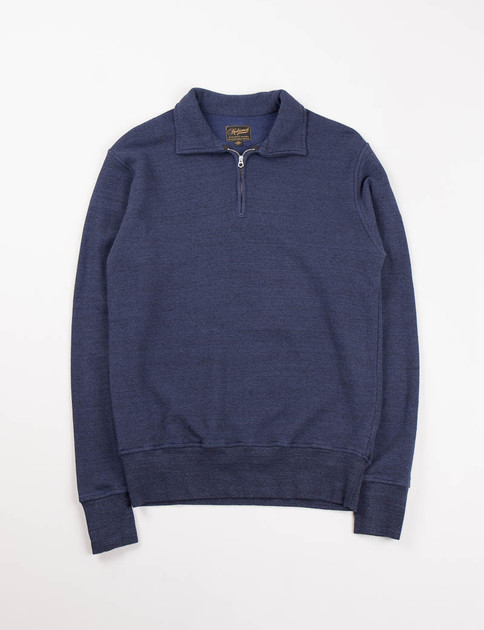 Indigo Quarter Zip Campus Sweat
