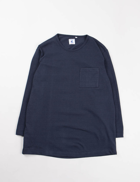 Navy Brehat Solid Jersey L/S T–Shirt