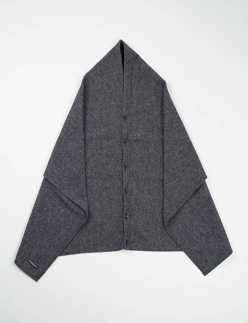 Grey 13oz Wool Flannel Button Shawl