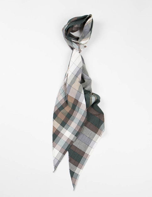 Green Cotton Cord Weave Plaid Bias Cut Scarf