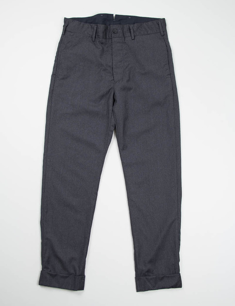 Charcoal Worsted Wool Flannel Cinch Pant