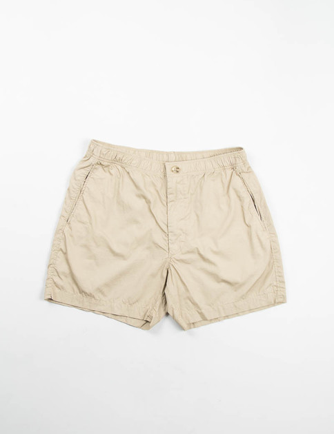 Khaki Pima Poplin Long Beach Short