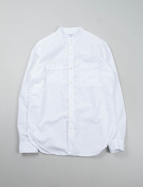 White 100s 2Ply Broadcloth Banded Collar Shirt