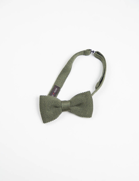 Olive Wool Knit Bow Tie