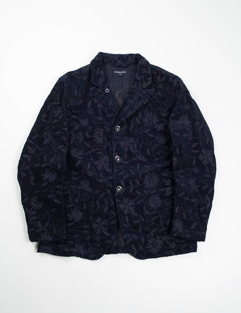 Dark Navy Floral Embroidered Corduroy Bedford Jacket