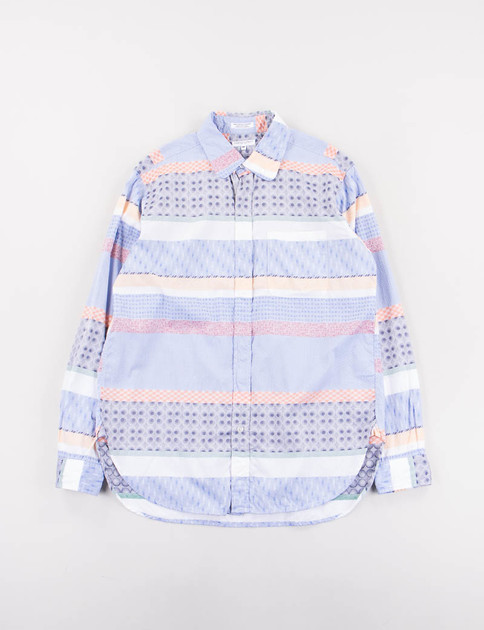Multi Color Pattern Block Rounded Collar Shirt