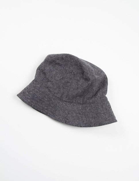 Charcoal Brushed Small Herringbone Bucket Hat