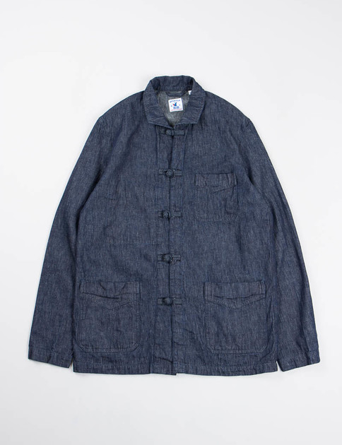 Indigo Cotton/Linen Denim Chinoise Jacket