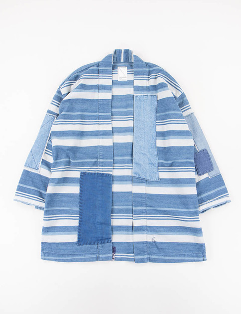 White/Indigo Stripe Empower Haori Jacket