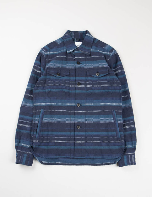 Blue Irregular Border Striped CPO Shirt Jacket