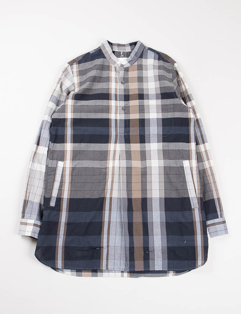 Navy Plaid Pullover Band Collar Long Shirt