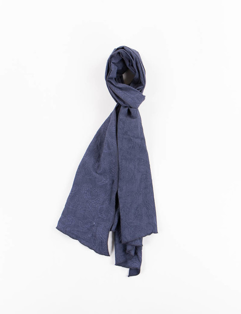 Dark Navy Paisley Jacquard Long Scarf