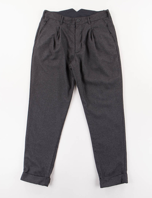 Dark Grey Worsted Heavy Wool Willy Post Pant