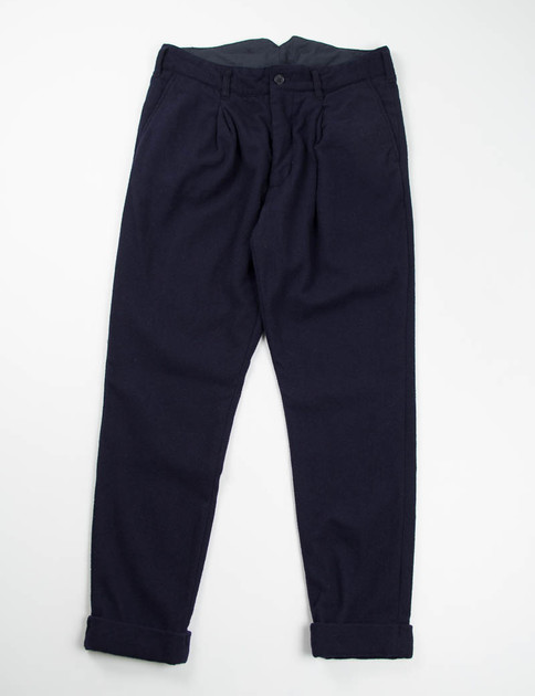 Dark Navy 13oz Wool Flannel Willy Post Pant