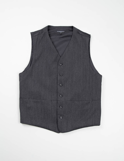 Grey Wool Bedford Cord Clement Vest
