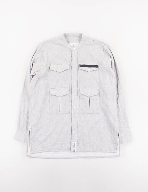 Light Grey Banded Collar G.P.4 Shirt
