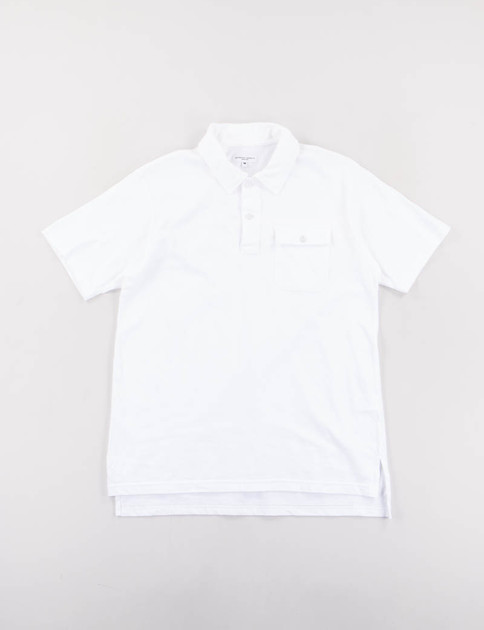 White Solid Jersey Knit Polo Shirt
