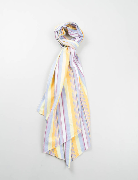 Yellow Multi Color Stripe Long Scarf