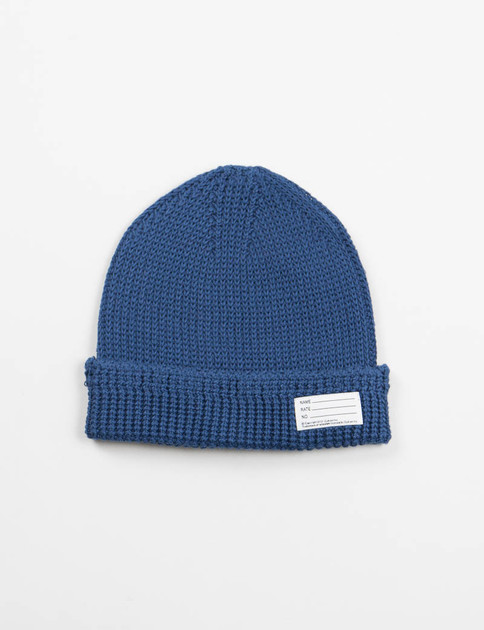 Blue Cotton Knit Beanie