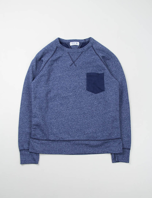 Heather Navy Double V Raglan Pocket Sweat