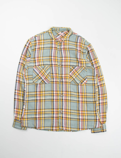 Brown/Yellow Gauze Heavy Flannel Check Chibieri Marble Shirt