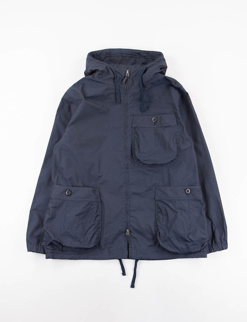 Navy High Count Poly Oxford Gathered Round Pocket Zip–Up Parka