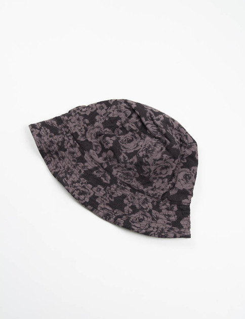 Black Floral Printed Flannel Reversible Bucket Hat