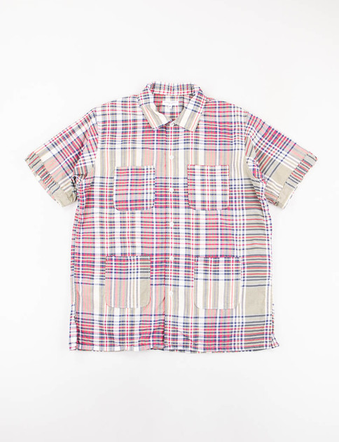 Olive/Red/Navy Big Plaid Camp Shirt