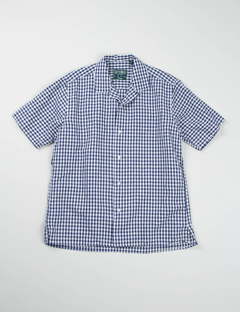 Navy Gingham Linen/Cotton Camp Shirt
