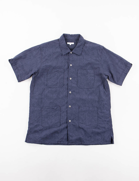 Dark Navy Paisley Jacquard Camp Shirt