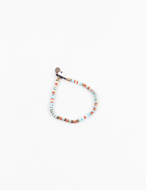 Turquoise/Red Jasper Brass Beads Bracelet