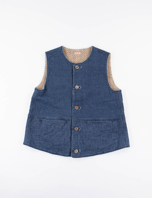 Indigo Sneaker Denim Fleece Jerkin Vest