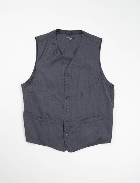 Charcoal Worsted Wool Flannel Cinch Vest