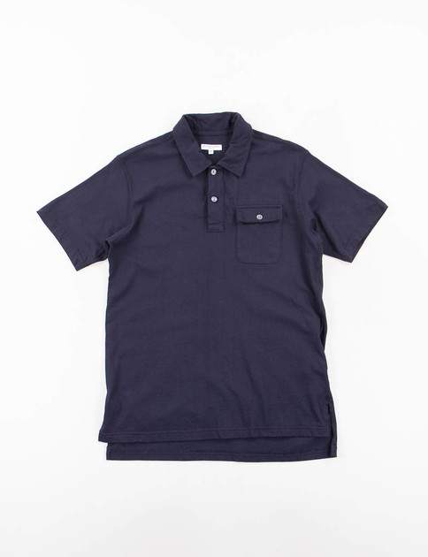 Dark Navy Solid Jersey Knit Polo Shirt