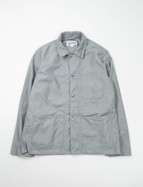 Grey Reversed Sateen Utility Jacket