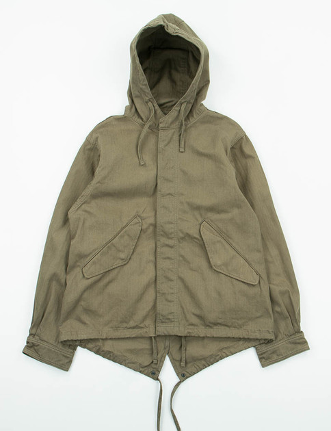 Olive Herringbone Cotton Short Fishtail Jacket