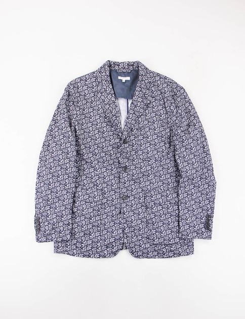 Dark Navy Cotton Paisley Baker Jacket