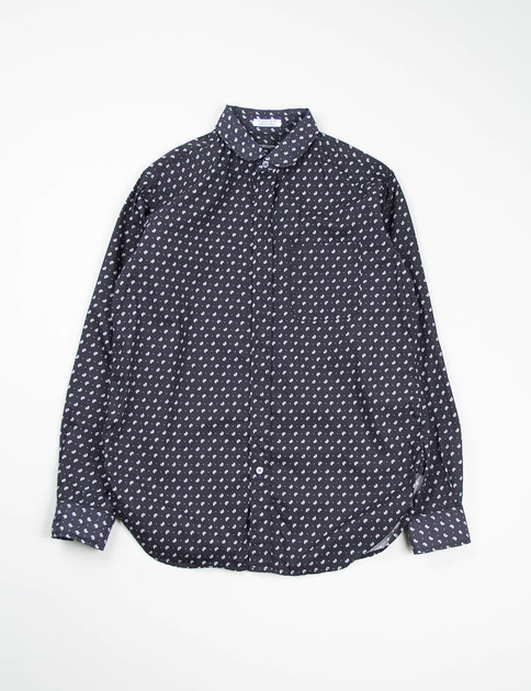 Black Small Paisley Rounded Collar Shirt