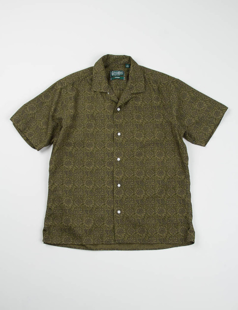 Dark Olive Floral Camp Shirt